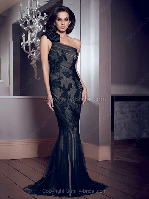 Trumpet/Mermaid One Shoulder Tulle Sweep Train Appliques Evening Dresses