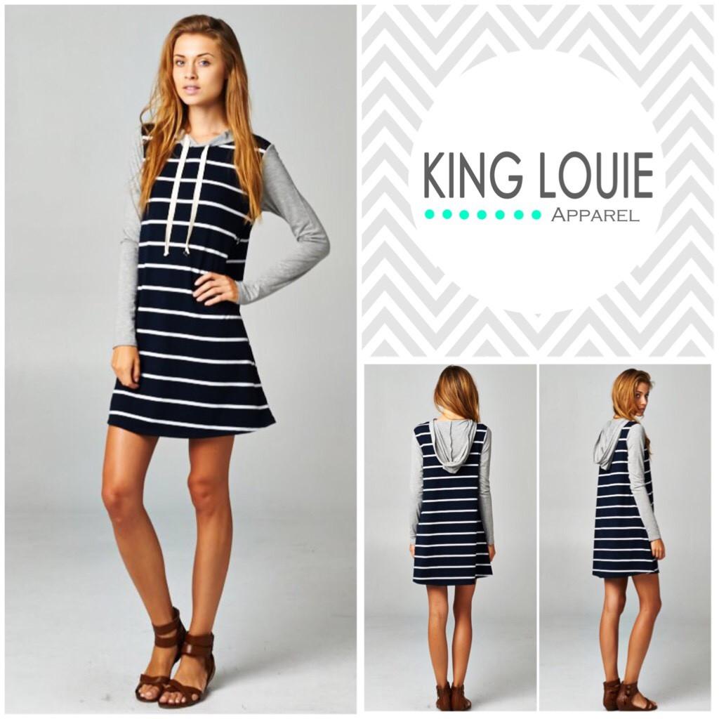 Long stripe hooded tunic – king louie apparel