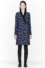 Kenzo Blue Temple Eyes Pattered Coat for women | SSENSE