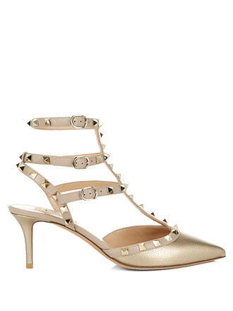pumps leather gold shoes