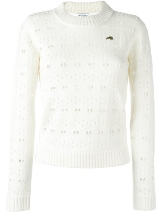 jumper heart lace white sweater
