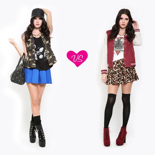 shoes red heels blue skirt blouse jacket skirt socks bag
