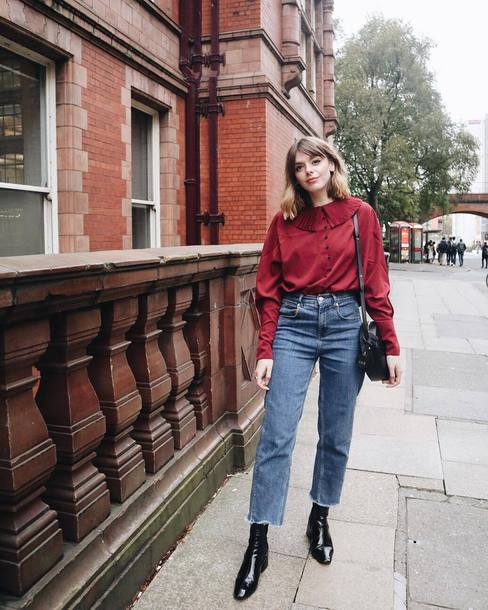 blouse tumblr red blouse long sleeves denim jeans blue jeans boots black boots ankle boots bag black bag