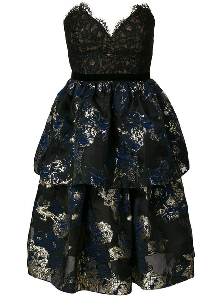 Marchesa Notte dress bustier dress metallic women lace floral print black