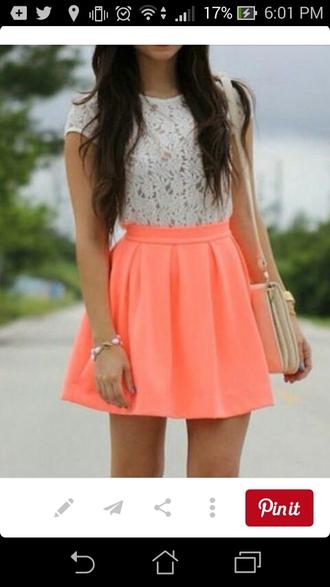 skirt coral skater skirt white lace shirt shirt