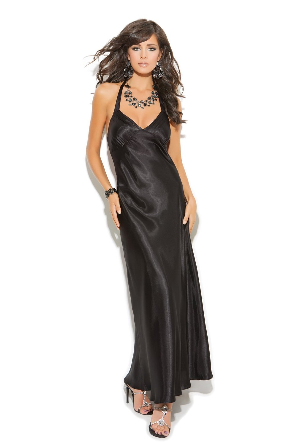 Amazon.com: elegant moment 1919 charmeuse satin halter neck gown.: adult exotic nightgowns: clothing