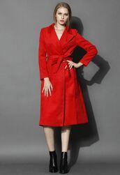 scarlet coat,red coat,wool coat,red wood coat,wool blend coat,lapel coat,self tie coat,self tie belt,side pockets,long sleeves,www.ustrendy.com
