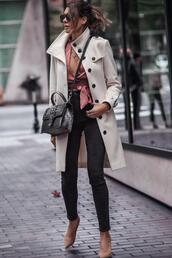fashionedchic,blogger,bag,top,black jeans,pink top,white coat,fall outfits,winter outfits