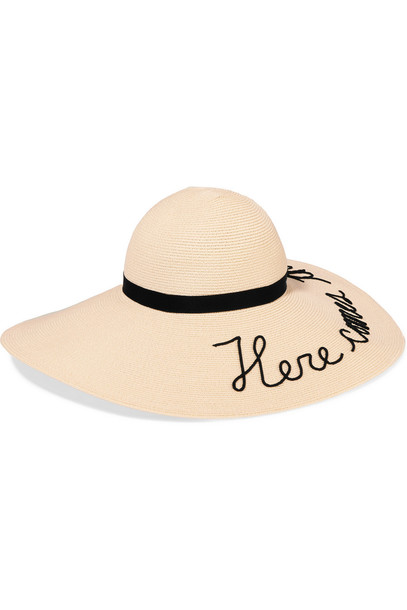 Eugenia Kim Bunny Embroidered Toyo Sunhat in beige / beige