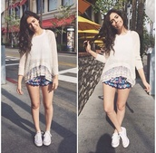 sweater,bethany mota,clothes,winter sweater,shorts,t-shirt,bethany's outfit pls