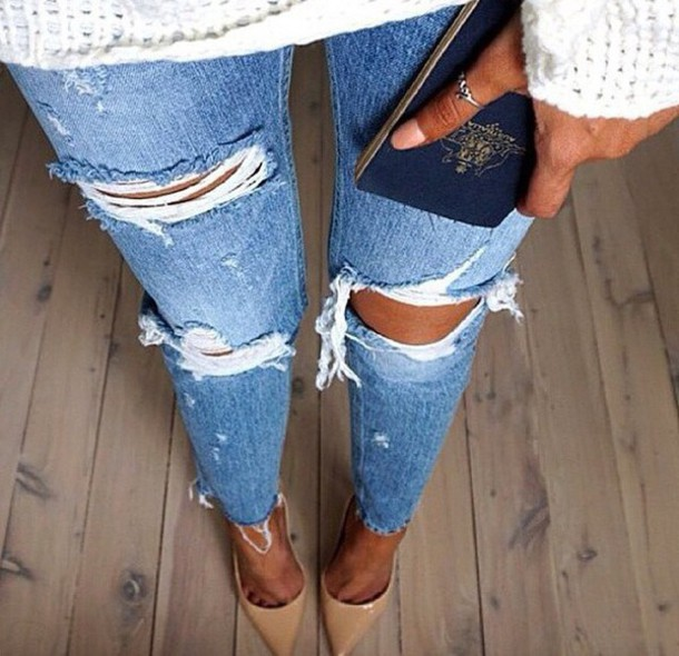 4168b3d5f0198 jeans ripped jeans blue jeans light skinny tight ripped pants ripped denim  ripped knee jeans shoes