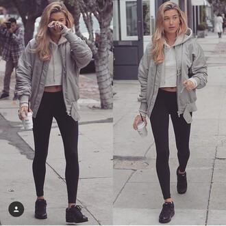 jacket grey streetstyle hailey baldwin