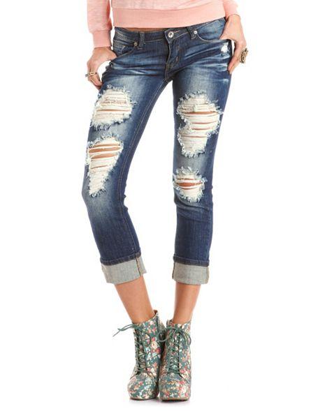 machine jeans destroyed boyfriend jean charlotte russe. Black Bedroom Furniture Sets. Home Design Ideas