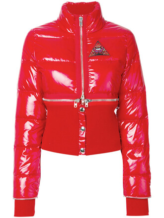 jacket puffer jacket feathers women cotton red
