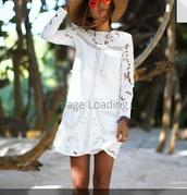 dress,small cut out,white dress,long sleeve dress,bag