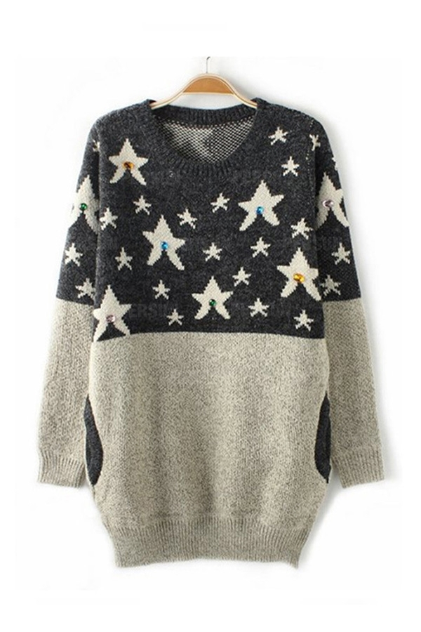White Star Pattern Contrast Sweater [FKBJ10446] - PersunMall.com