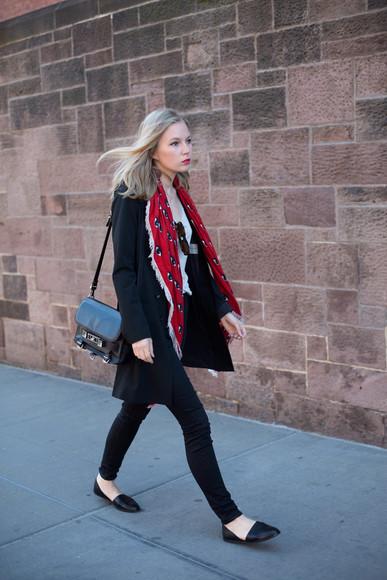 top scarf jacket jeans bag shoes