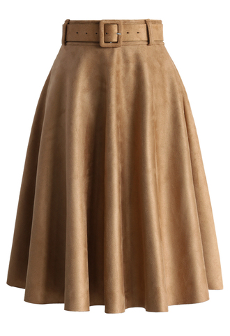 skirt belted suede a-line skirt in tan suede a-line tan belted chicwish