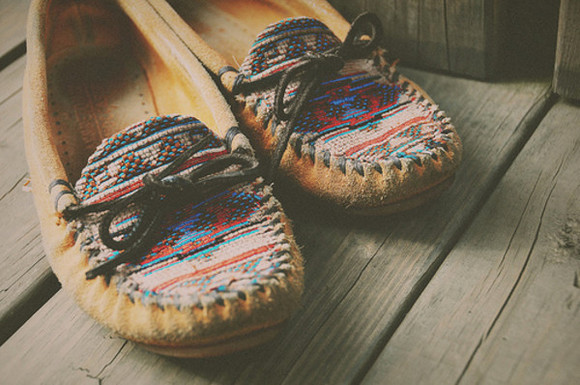 aztec moccasins shoes pattern native american print leather suede brown shoes inca aztec native american