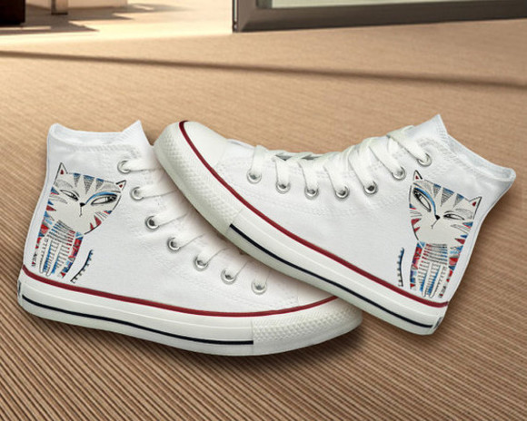 cat eye shoes converse hand painted cat gift best gifts birthday unique