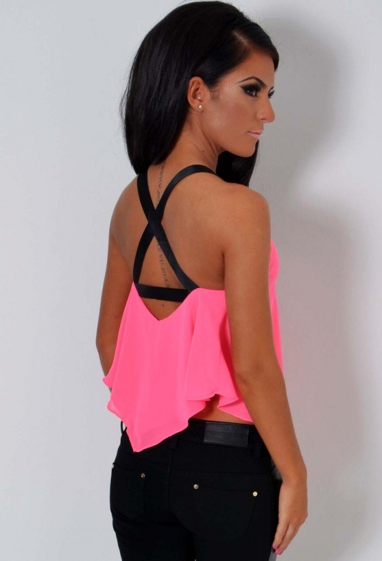 Volcanix Neon Pink Drape Cross Back Top | Pink Boutique