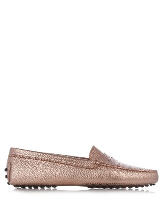 loafers leather pink shoes