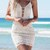 White Lace Overlay With Contrast Bbeige Lining Dress on Storenvy