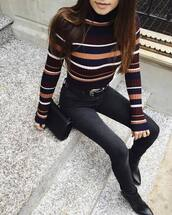 sweater,tumblr,striped sweater,stripes,turtleneck,turtleneck sweater,denim,jeans,black jeans,skinny jeans,bag,black bag,western belt,belt,boots,black boots,pointed boots,striped turtleneck,fall colors,striped turtleneck sweater,red,black,blue,white,beige,shirt