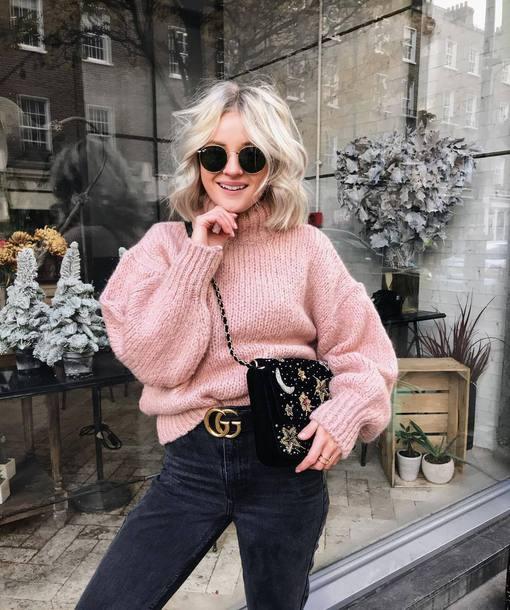 sweater tumblr knit knitwear knitted sweater pink sweater sunglasses turtleneck turtleneck sweater bag