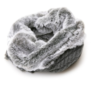 scarf fur gray snood knitwear fall outfits infinity scarf fur scarf