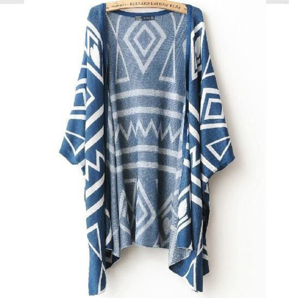Cardigan: kimono, blue, white, aztec, tribal pattern, tumblr ...