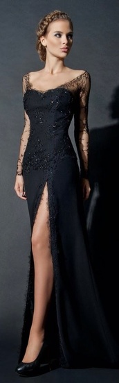 dress,2015 evening dresses,formal,sheer,2014 prom gown,black,long,long sleeves,chiffon,elegant,prom,prom dress,black dress,lace dress,slit dress