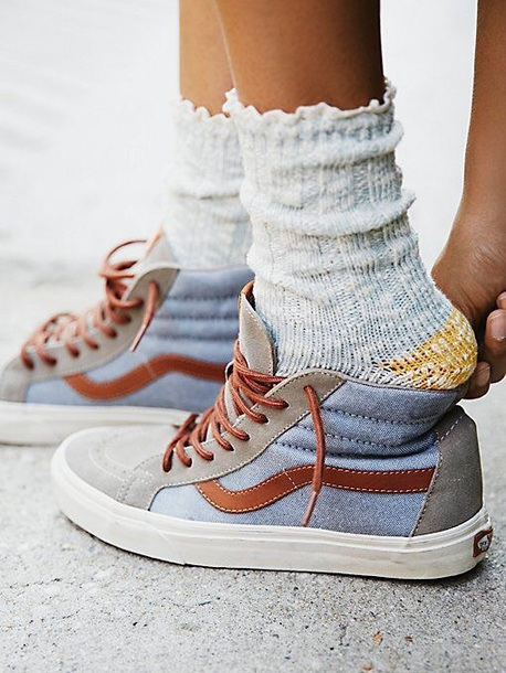 shoes blue vans brown sneakers skater high top sneakers