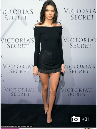 skirt skorts kendall jenner model shirt celebrity style kardashians black hot summer studs black fitted off the shoulder mini skirt black top off the shoulder black heels