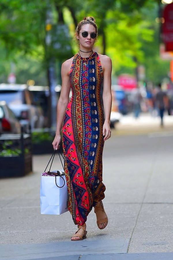 candace swaenpool vs angel victoria's secret model maxi dress dress long dress model hippie boho patterned dress sandals halter neck print dress boho dress sleeveless multicolor candice swanepoel