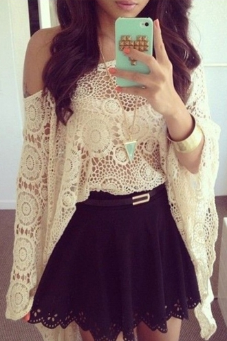 dress crochet black cute girly summer cool two-piece feminine fall outfits skater skirt off the shoulder