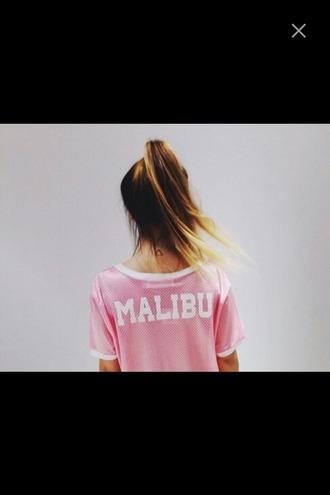 shirt malibu pink t-shirt ombre acid wash sportswear beach pastel pastel pink oversized t-shirt ombre hair