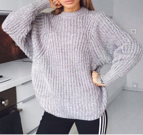 Sweater: tumblr, knitwear, knitted sweater, knit, grey, grey ...