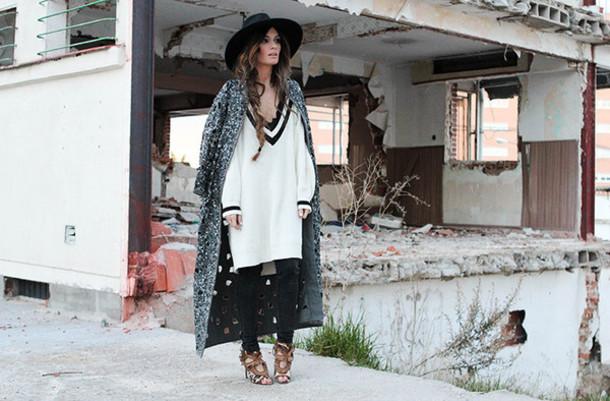 madame rosa blogger hat sweater dress grey coat