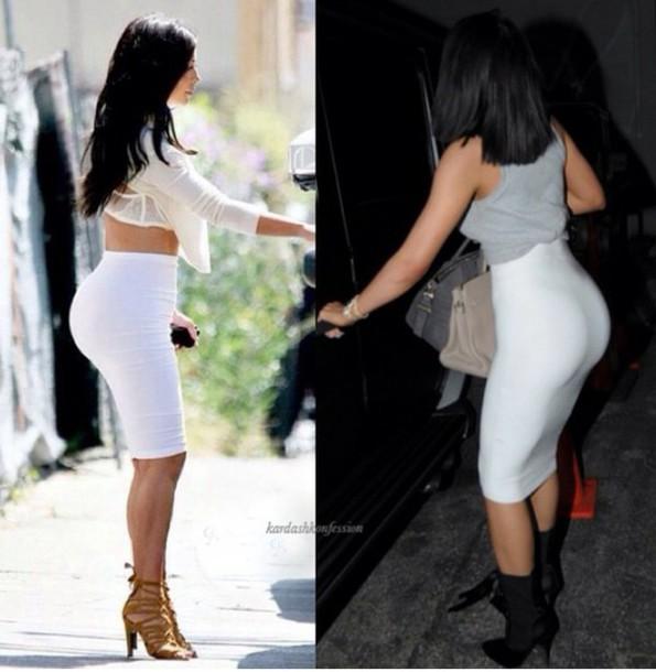 shirt white skirt kylie jenner kim kardashian shoes