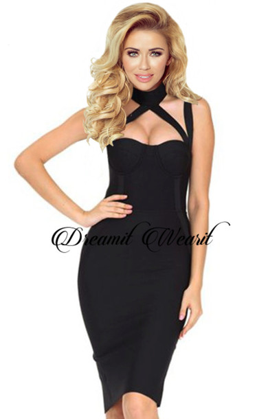ce16e89ab3e893 dress dream it wear it black black dress little black dress midi midi dress  bustier dress