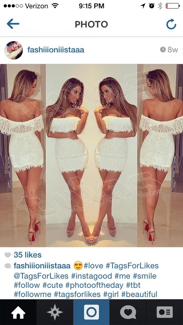 dress white dress lace dress white lace dress off the shoulder off the shoulder dress celebrity style fashion