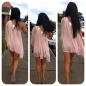 dress,short dress,light pink,one shoulder,flowy,sequence top rim