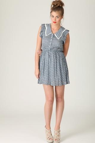 Preyson babydoll rabbit printed dress in blue