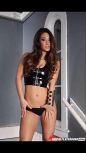 top,black,latex,leather dress,zip-up