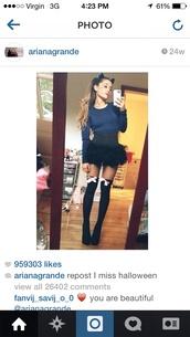 shirt,halloween,cats,costume,socks,crop tops,skirt,ariana grande,grande,dress,ruffle