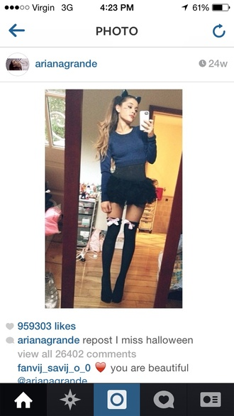 shirt halloween cats costume socks crop tops skirt grande ariana grande dress ruffle