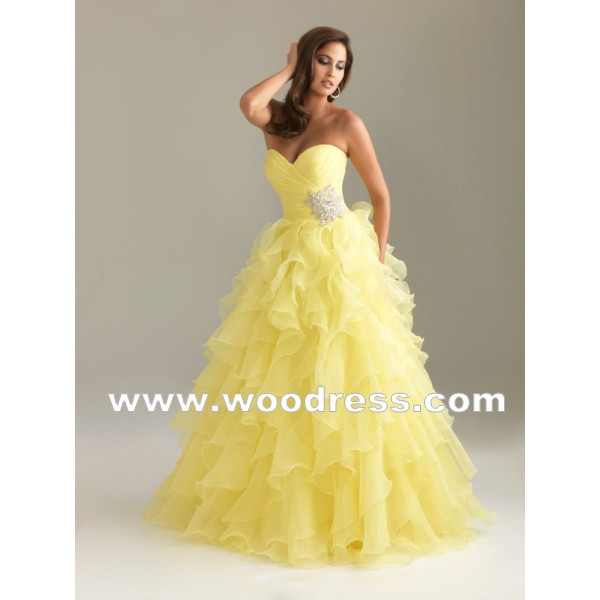 A-LINE Ball Gown FLOOR-LENGTH Yellow Organza Lemon PROM DRESSES STYLE 6400