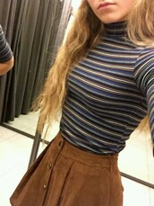 top,turtleneck,striped top,skirt,suede skirt,trendy,brown,vintage,hipster,shirt,striped shirt,high neck,button up skirt,brown skirt,mini skirt,t-shirt,girl,clothes,striped t-shirt,blue,blue t-shirt,sweater,grunge,alternative,stripes,tight,cute,80s style,90s style,chill,relaxed,tumblr,striped sweater,corduroy