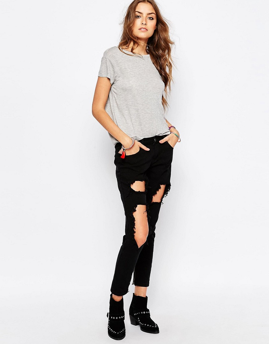 Liquor & Poker Tall Skinny Jeans With Extreme Distressing Ripped Knees at asos.com